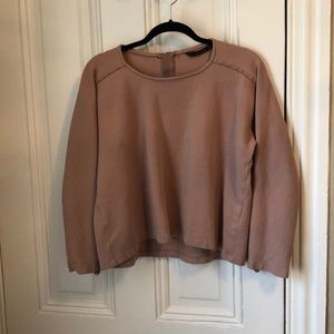 Zara cropped pink back zip sweatshirt